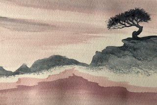 Bonsai with Pink Sky